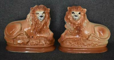 Handsome Pair Of Large Victorian Antique English Staffordshire Recumbent Lions