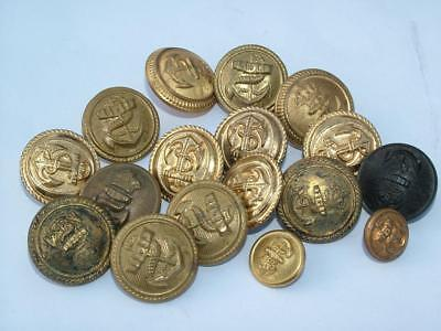 Mixed Job Lot Of Old Brass Naval Navy Tunic Buttons