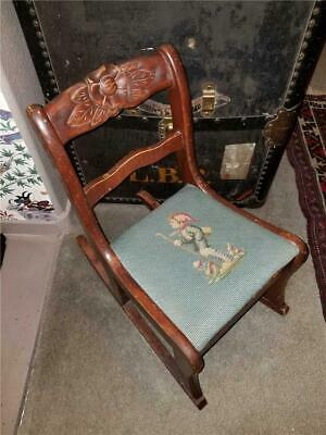 Antique Vintage Child's Wooden Rocking Chair Flower Carvings Needlepoint Set