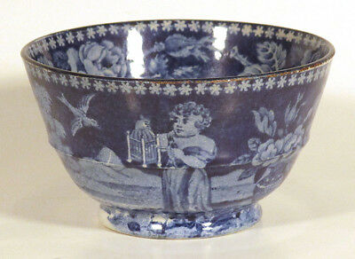 1820 Rare Antique Handleless Teacup BOY WITH BIRDCAGE Staffordshire Pearlware