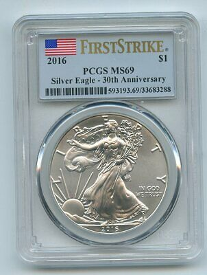 2016 $1 American Silver Eagle 1oz Dollar PCGS MS69 First Strike