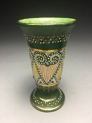 Scarce HB Quimper French Faience Broderie Raised Petit Point Decorated Vase