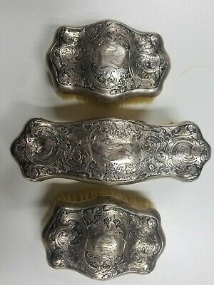 Antique Victorian Sterling Silver Clothes Lint Brush Repoussé Monogrammed no res