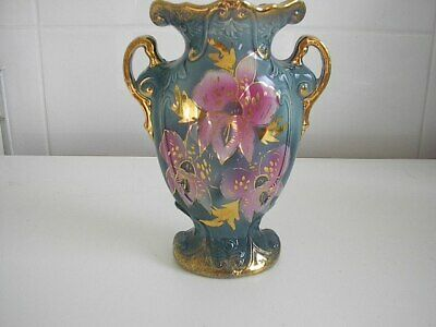Beautiful Vintage Urn Shape English Vase - Green with Floral Pattern