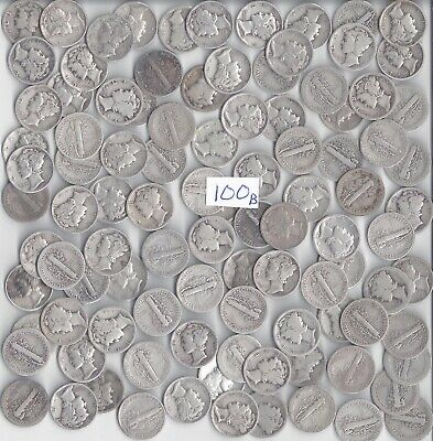 100 Mercury Dimes - $10.00 Face Value 90% silver ***mixed dates and mints***