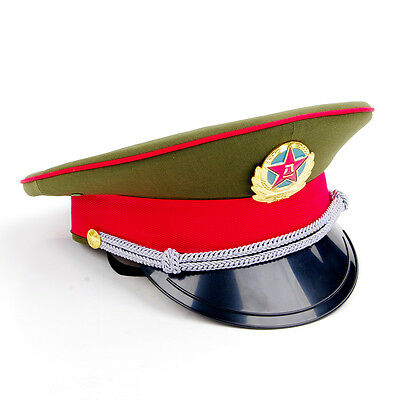 Chinese Collect Military officer Captain's Visor Hat Chinese Army Cap&badge 59cm