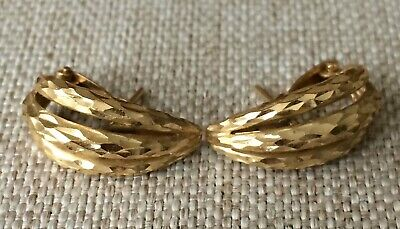 14k 14 k Solid Yellow Gold Hammered Earrings Wear or Scrap 3.2 Grams