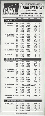 buy 4+ save 50/% 6061 Kiwi International Air Lines system timetable 6//1//96