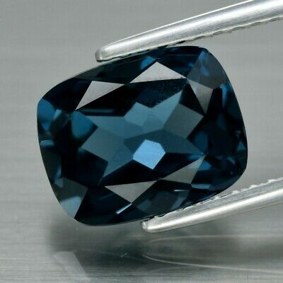 Top! VVS 2.92ct 9x7.2mm Cushion Natural London Blue Topaz, Brazil