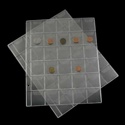 Clear 30 Pockets Plastic Coin Holders Storage Collection Money Album Case