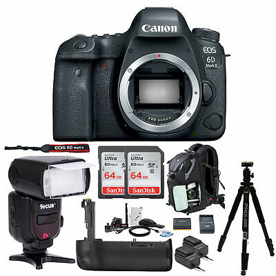Canon EOS 6D Mark II DSLR Camera with 64GB SD Card and Battery Grip Bundle
