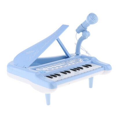 Kids Electronic Keyboard Mini Piano Stool Microphone Musical Toy Gift Blue