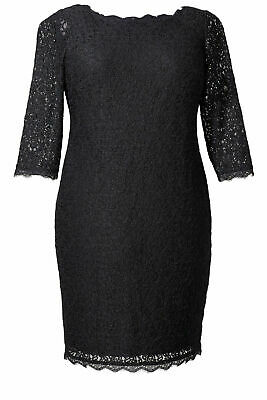 Adrianna Papell Black Women's Size 18W Plus Lace Sheath Dress $195- #366