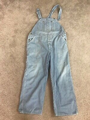 "Vintage Lee Denim Bib Work Hickory Stripe Railroad Distressed Overalls 42""waist"