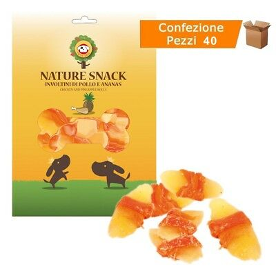 Multipack da 40 Buste Nature Snack Involtini di Pollo e Ananas Fuss Dog