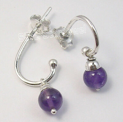 925 Sterling Silver PURPLE AMETHYST BEADS Studs Earrings 2.3 CM BIRTHDAY GIFT
