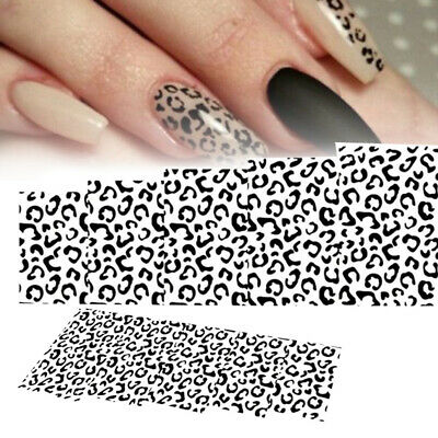 NAIL ART WATER Decals Stickers Black White Animal Leopard