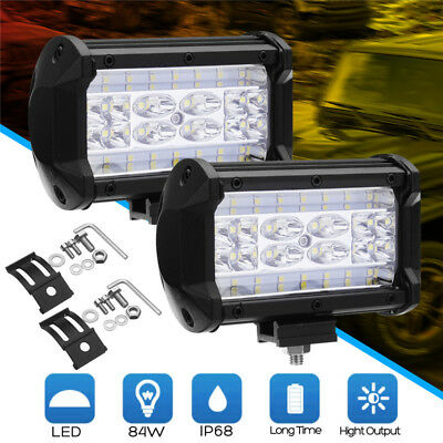2x 5inch 168W LED Work Light Bar Flood Combo Pods Driving Off-Road Tractor 4WD