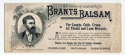 1800's Advertising Blotter for Brants Balsam for Coughs, Lung Disease