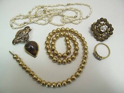 Five Piece Lot Of Antique & Vintage Gold & Gold Filled Jewelry