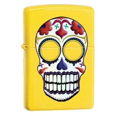 Zippo Day Of The Dead Skull Lighter Classic Size Case With Narrow Flame - Yellow