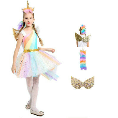 c558bdc04ef8f New Rainbow Tutu Skirt Unicorn Princess Girl Dress Mesh Top Party Kids  Clothes