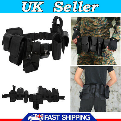 New Police Guard Tactical Belt Buckles With 9 Pouches Utility Security System