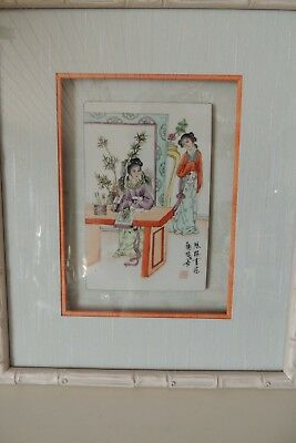 Antique China Chinese Porcelain Famille Rose Tile Painting Qing 19Th