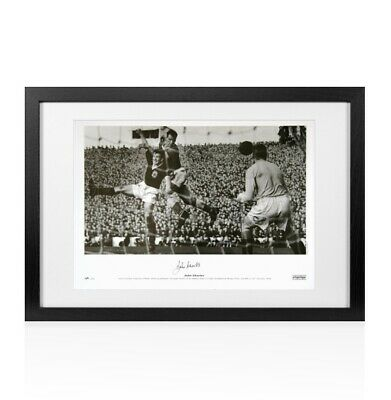 Framed John Charles signed print - Wales vs Scotland Autograph