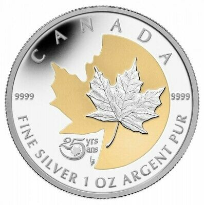 The Silver Maple Leaf, 25th Anniversary - 2013 Canada $5 Fine Silver Coin