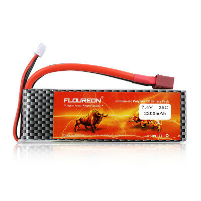 Floureon LiPo Akku Battery 2S 7.4V 2200mAh 35C with T Plug for RC Evader BX Car