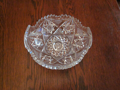 Antique to Vintage Diamond Wheel Cut Crystal Bowl