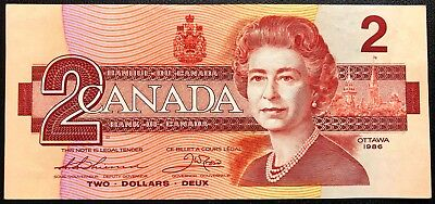 1986 Bank of Canada $2 Two Dollar Banknote - Great Condition