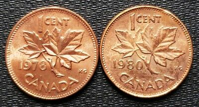 1978 & 1980 Canada Error Pennies - Double Date and Double Chin - Nice Detail