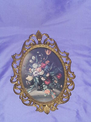 Vtg Ornate Oval Metal Frame Convex Wall Picture Victorian Floral Made In Italy 1