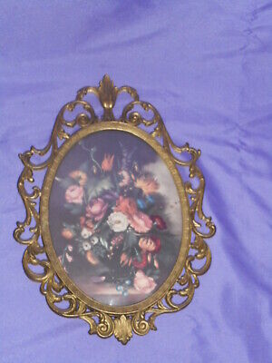 Vtg Ornate Oval Metal Frame Convex Wall Picture Victorian Floral Made In Italy 2