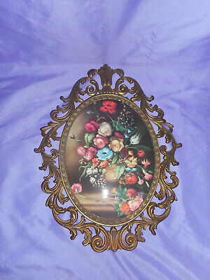 Vtg Ornate Oval Metal Frame Convex Wall Picture Victorian Floral Made In Italy 3