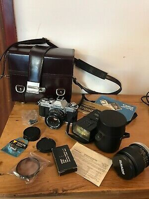 Vintage CANON AV-1 35mm SLR Film Camera 50mm FD lens Case SUNSGOR Lens Flash Etc
