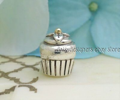 Authentic Pandora Silver 14k Gold CUPCAKE Charm 790417 RETIRED
