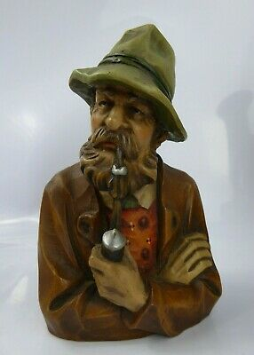 Antique Anri / Black Forest Carved Wood Polychrome Bust Alpine Man Smoking Pipe