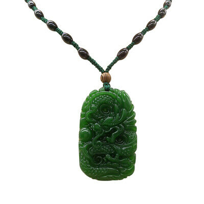 Natural Green Hand-carved Chinese Hetian Jade Dragon Pendant with Necklace