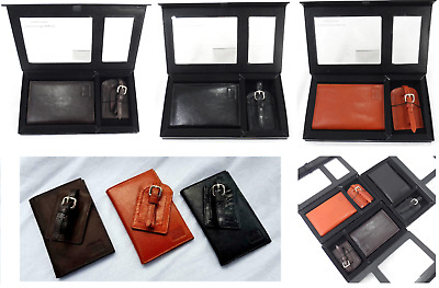 New Genuine Leather Passport Cover Holder and Luggage Tag Boxed Gift Set Travel