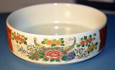 "Satsuma, Japan marked -  6"" bowl, 1970's with gold trim peacocks,  PRICE REDUCED"