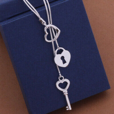 Fashion Silver Plated Key Pendant Fashion Cute Charms Women Necklace Jewelry