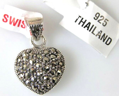 925 Sterling Silver Swiss Marcasite Valentine Heart Pendant Charm NEW 23mm x15mm
