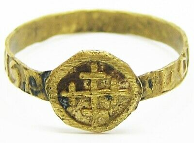 Rare 14th - 15th century Medieval Magical Amulet Ring Three Magi Inscribed Posy