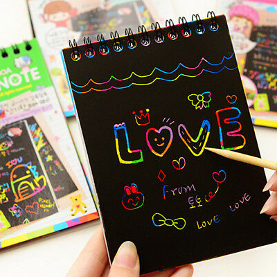 KQ_ Kids Rainbow Colorful Scratch Art Kit Magic Drawing Painting Paper Notebook