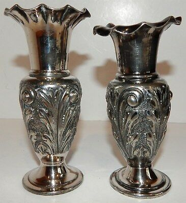 Pair Of Vintage Silver Plated Miniature Vases (Same Body Design)