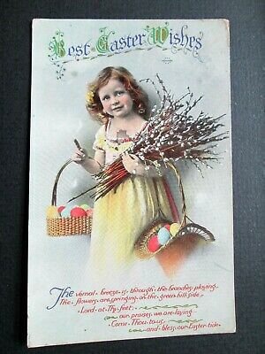 BEST EASTER WISHES, LITTLE GIRL HOLDING CATKINS - WILDT & KRAY No 2607 (1913)