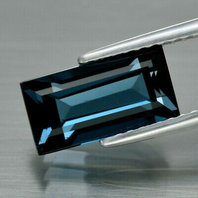 Top! VVS 3.17ct 10.6x5.5mm Baguette Natural London Blue Topaz, Brazil